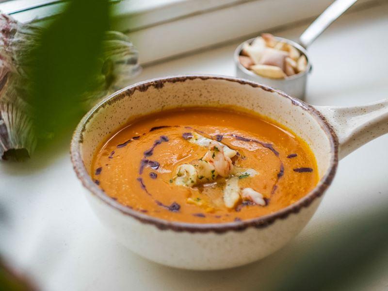 Крем-суп из тыквы с креветками - рецепт