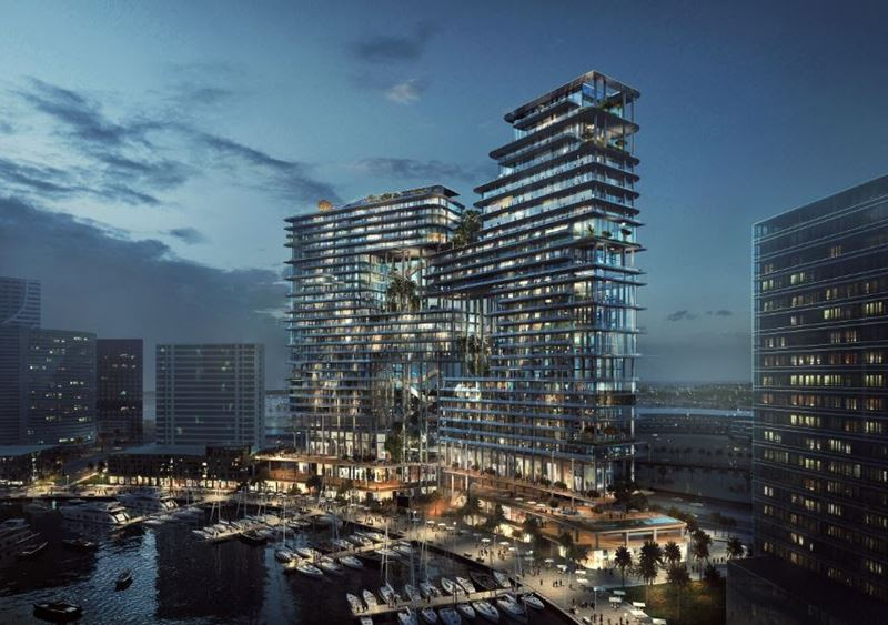The Residences, Dorchester Collection, Dubai – отель и элитный жилой комплекс в Дубае - ночной вид