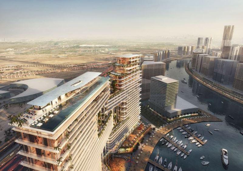 The Residences, Dorchester Collection, Dubai – отель и элитный жилой комплекс в Дубае - вид сверху днём