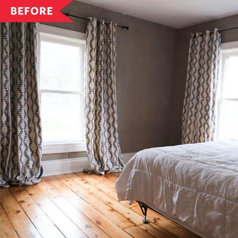 Декор маленькой спальни - серые стены и длинные шторы