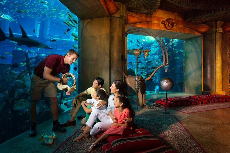 Семейный отдых в Дубае с детьми - Подводный мир в отеле Atlantis, The Palm
