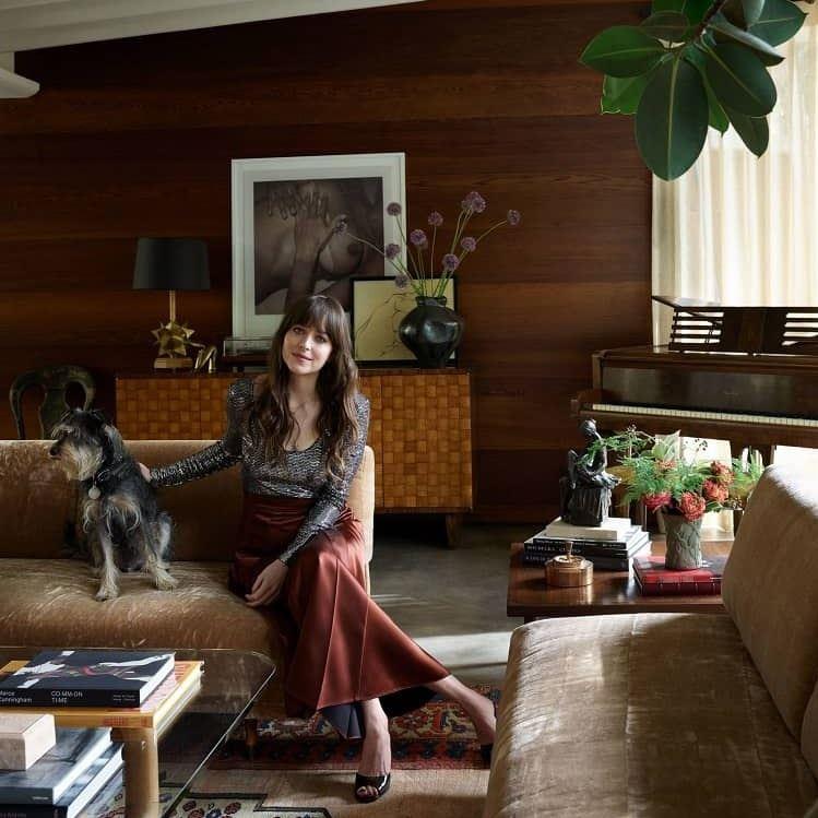 Интерьер дома Дакоты Джонсон в Лос-Анджелесе - с собакой