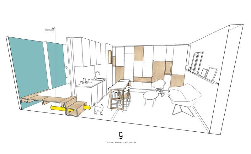 интерьер квартиры-студии в 30 м² с удобным зонированием (Париж, Франция)