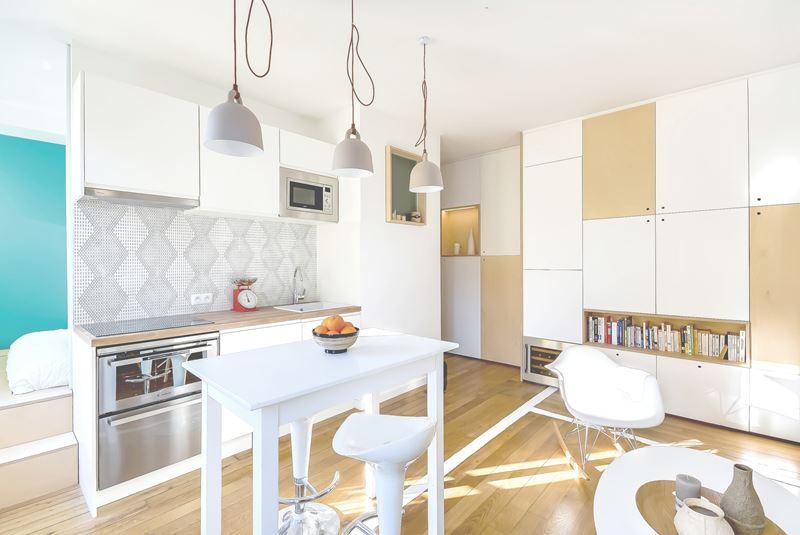 Интерьер квартиры-студии в 30 м² с зонированием - кухня