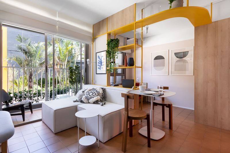 Интерьер квартиры-студии в 37 м² в Сан-Паулу - гостиная