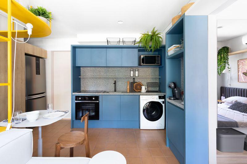 Интерьер квартиры-студии в 37 м² в Сан-Паулу - кухня