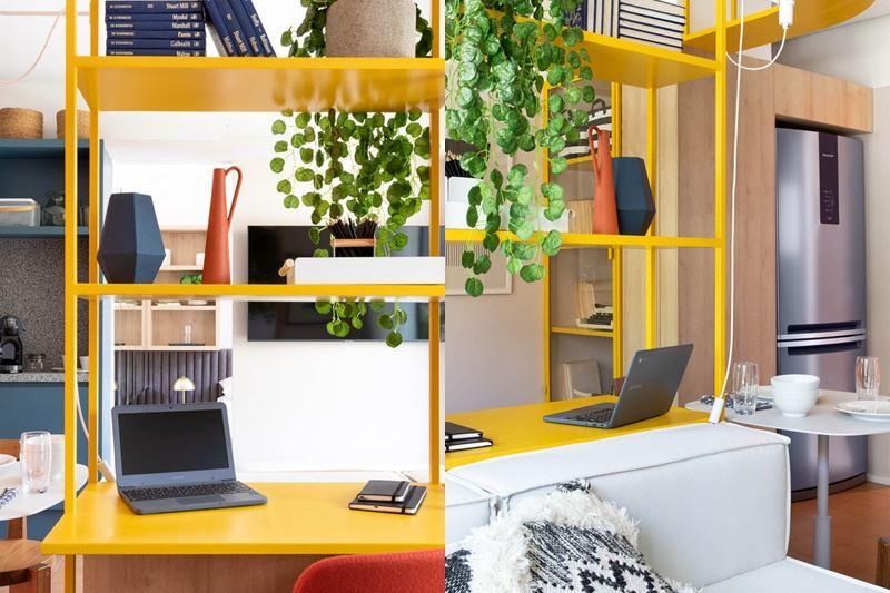 Интерьер квартиры-студии в 37 м² в Сан-Паулу - рабочая зона