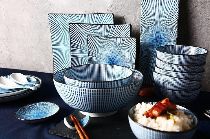 Красивая и стильная посуда с Aliexpress - Бело-голубой столовый набор (HPZS)