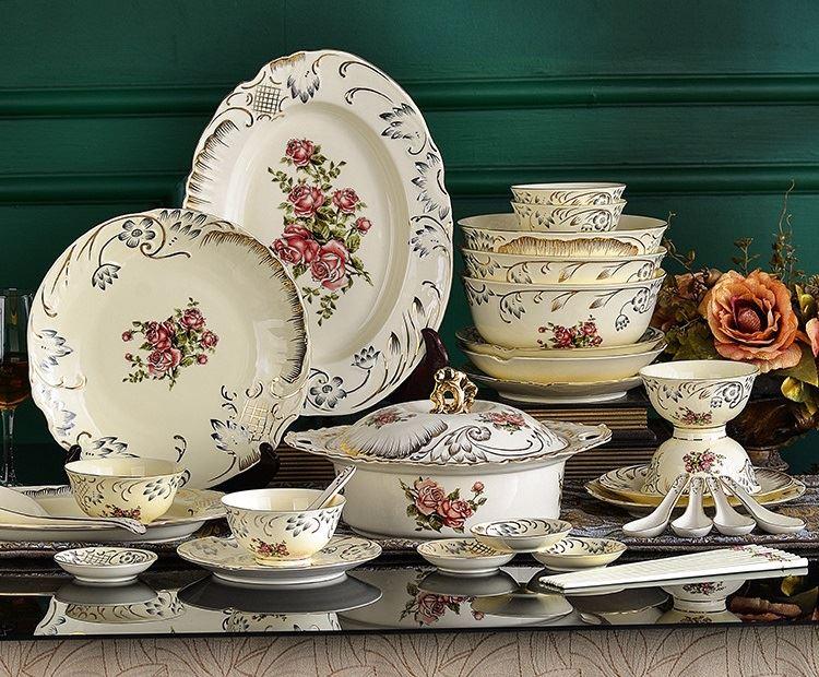 Красивая и стильная посуда с Aliexpress - Набор в европейском стиле с розами (HPZS)