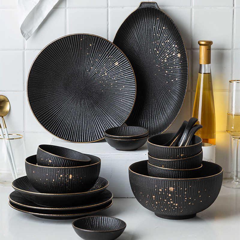 Красивая и стильная посуда с Aliexpress - Набор «плиссе» в чёрном цвете с золотыми брызгами (HPZS)