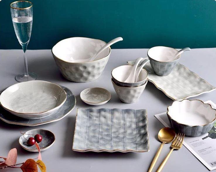 Красивая и стильная посуда с Aliexpress - Набор фактурной посуды в серо-белой гамме с золотом (Huanmu)