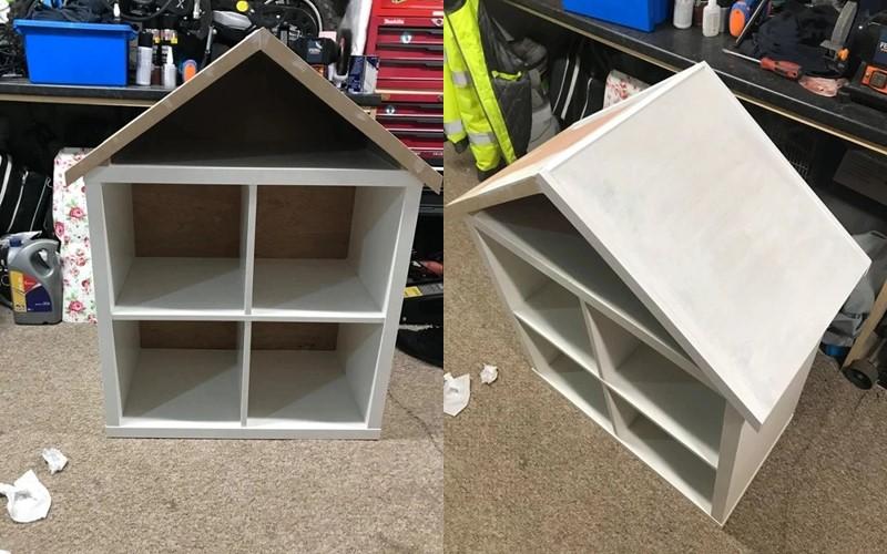 Из стеллажа IKEA в домик для Барби - крыша и белая краска