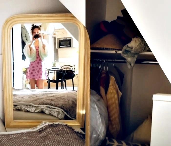 Француженка показывает квартиру в Париже 17 м² - зеркало и гардеробная