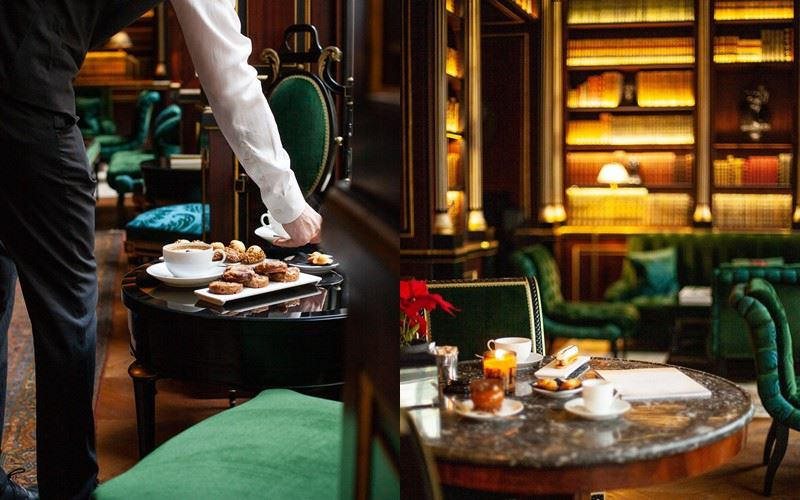 Библиотека герцога де Морни в отеле La Réserve Paris - завтрак