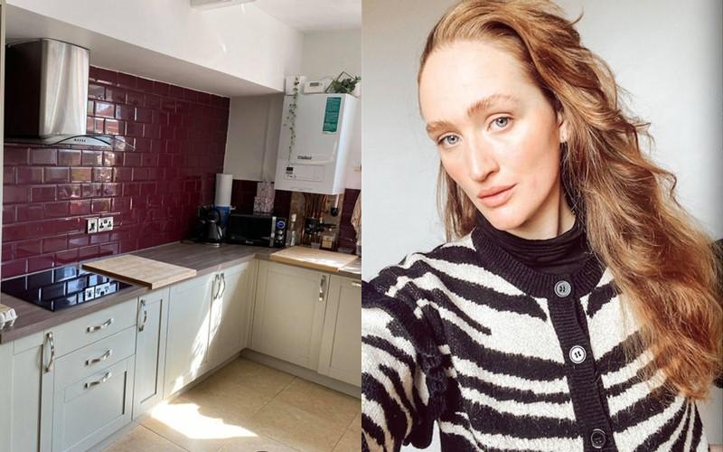 Перекладывать не надо: девушка сделала себе кухню из Pinterest, перекрасив плитку на полу и фартуке