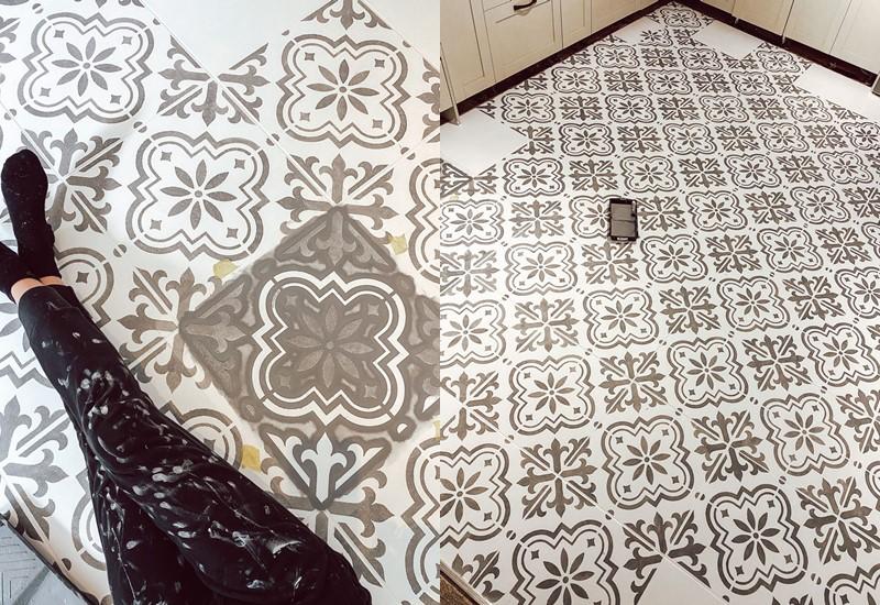 Кухня из Pinterest перекрашивание плитки - трафарет на полу