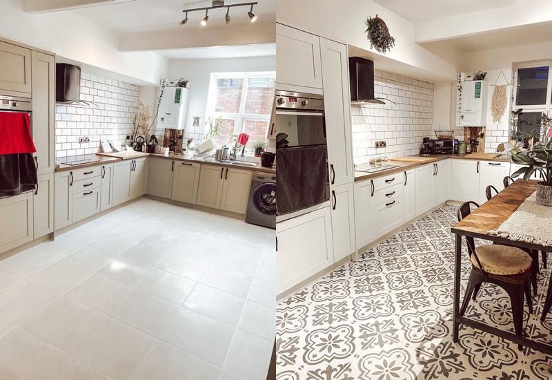 Кухня из Pinterest перекрашивание плитки - до и после