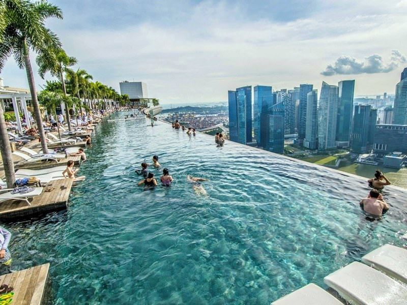 Бассейны-инфинити с панорамными видами - Marina Bay Sands (Сингапур)