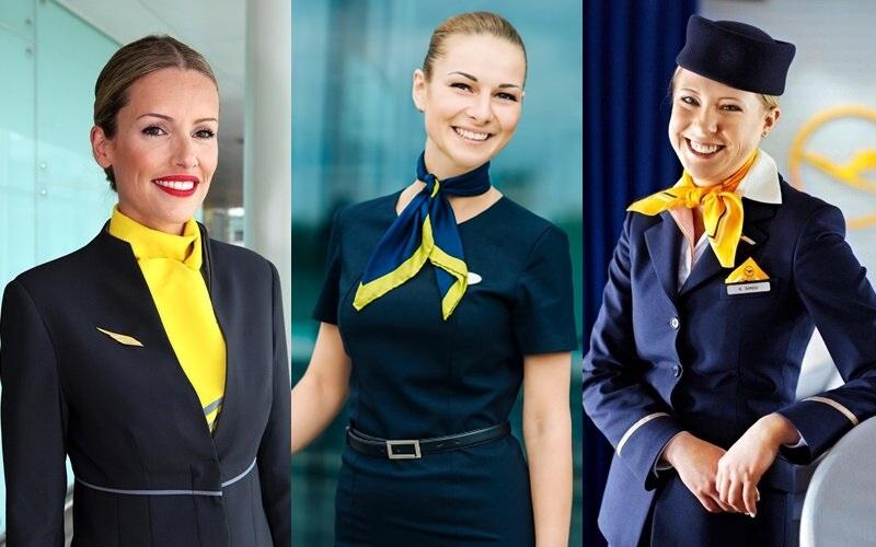 Форма стюардесс авиакомпаний Европы - Vueling (Испания), Air Baltic (Латвия), Lufthansa (Германия)