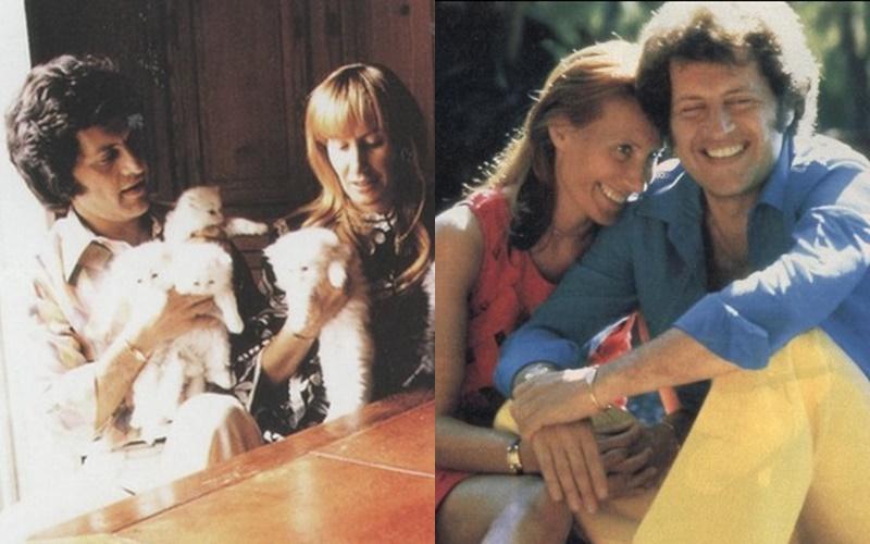 Жёны и дети Джо Дассена - с первой женой и кошками