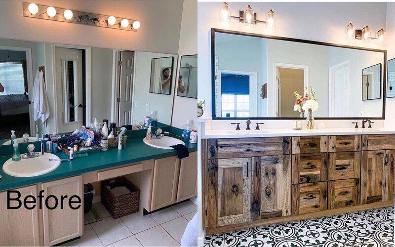 Ванная до и после ремонта - Дерево и белый вместо пастели и бирюзы
