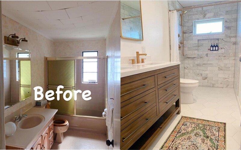 Ванная до и после ремонта - Белый, дерево и камень вместо розового монохрома