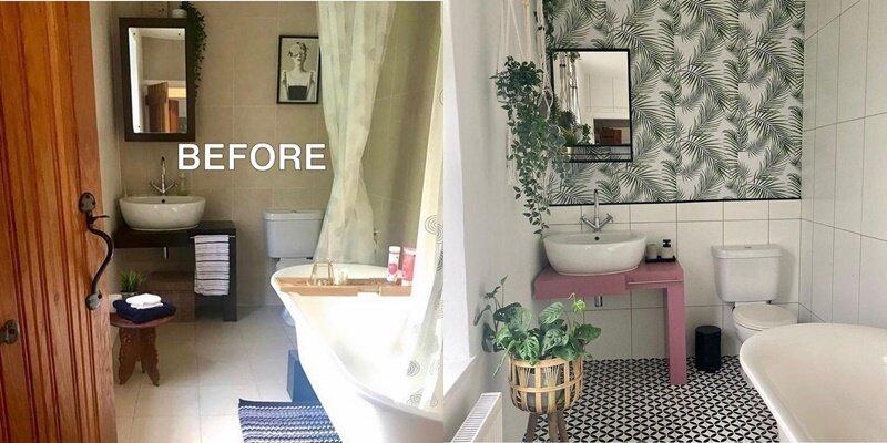 Ванная до и после ремонта - Белая плитка, розовый столик и растения