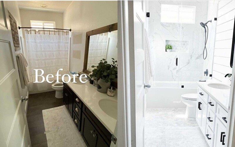 Ванная до и после ремонта - Белого больше, чем чёрного