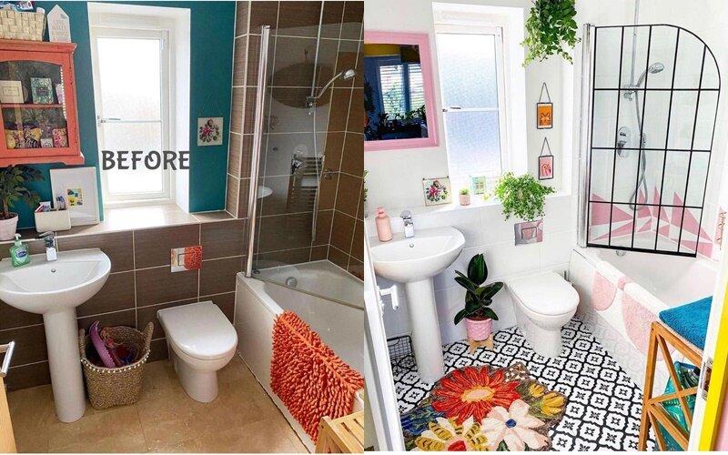 Ванная до и после ремонта - Стильное многоцветие для креативной ванной