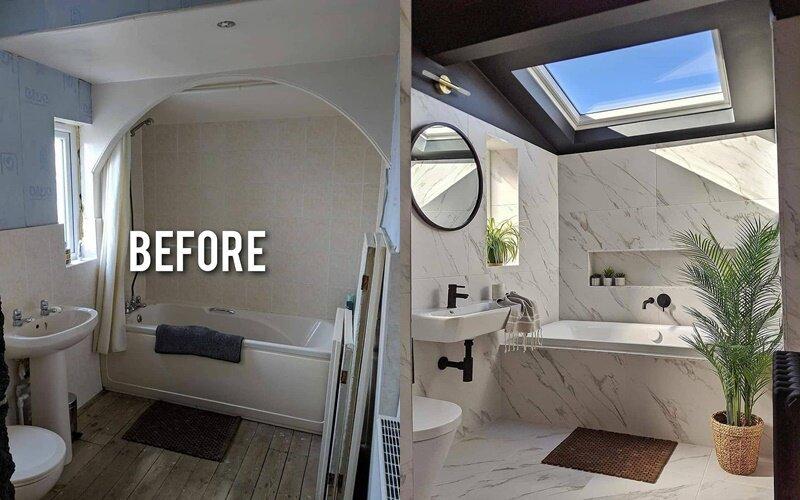 Ванная до и после ремонта - Обилие мрамора как символ роскоши