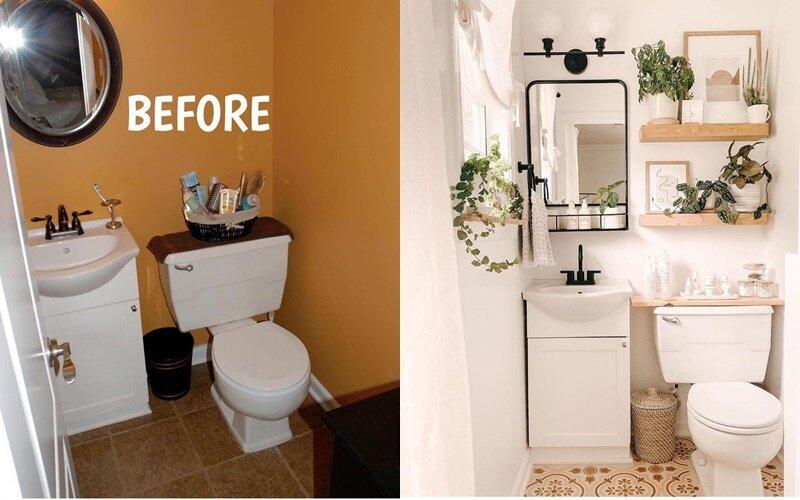 Ванная до и после ремонта - Белый и дерево вместо оранжевого