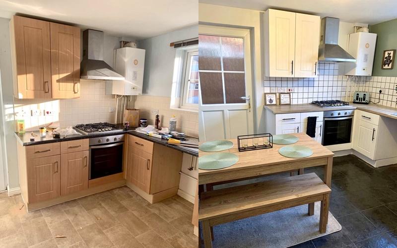 Деревянная кухня наследство - интерьер до и после ремонта