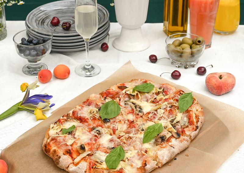 Римская пицца - начинки - Ветчина и грибы с артишоками
