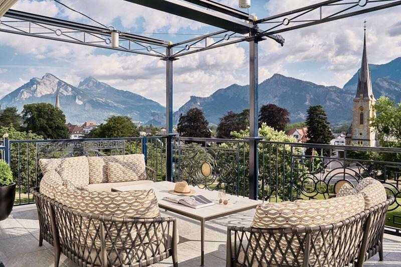 Спа-курорт Grand Resort Bad Ragaz (Швейцария) - панорама на террасе