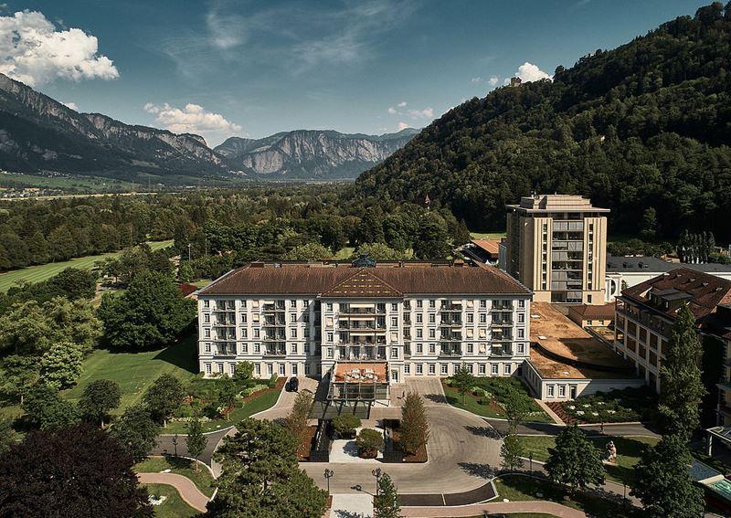 Спа-курорт Grand Resort Bad Ragaz (Швейцария) - вид с высоты