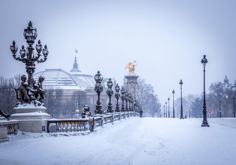 Мост Александра III в Париже зимой