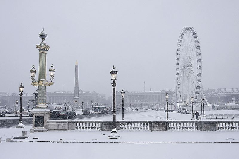 Париж, Площадь Согласия зимой