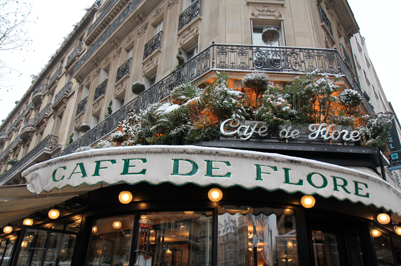 Париж, Кафе де Флор, зима