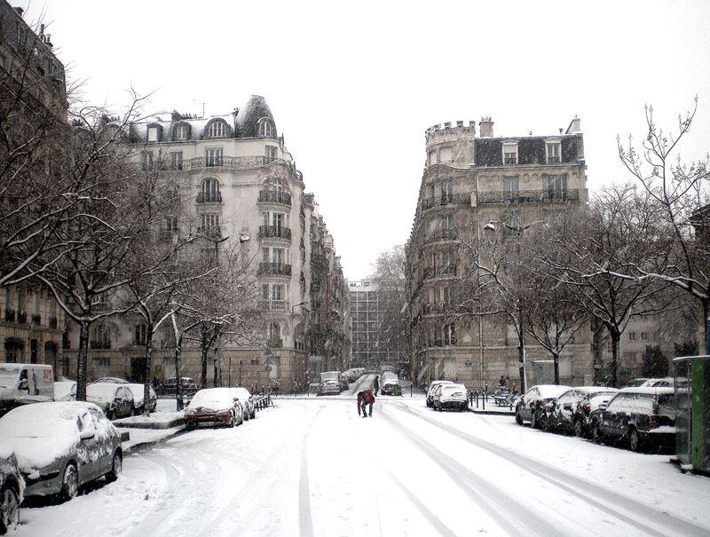 Париж, авеню Дориан зимой