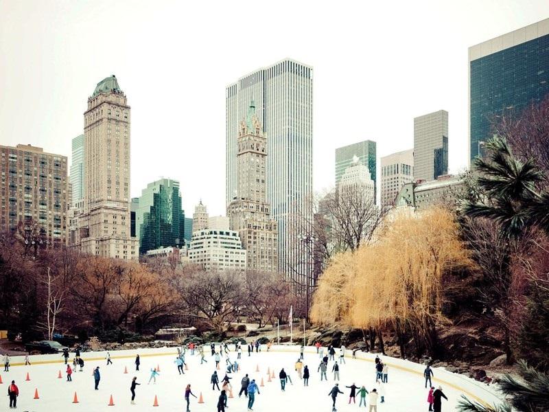 Нью-Йорк зимой снег в большом городе  (1)