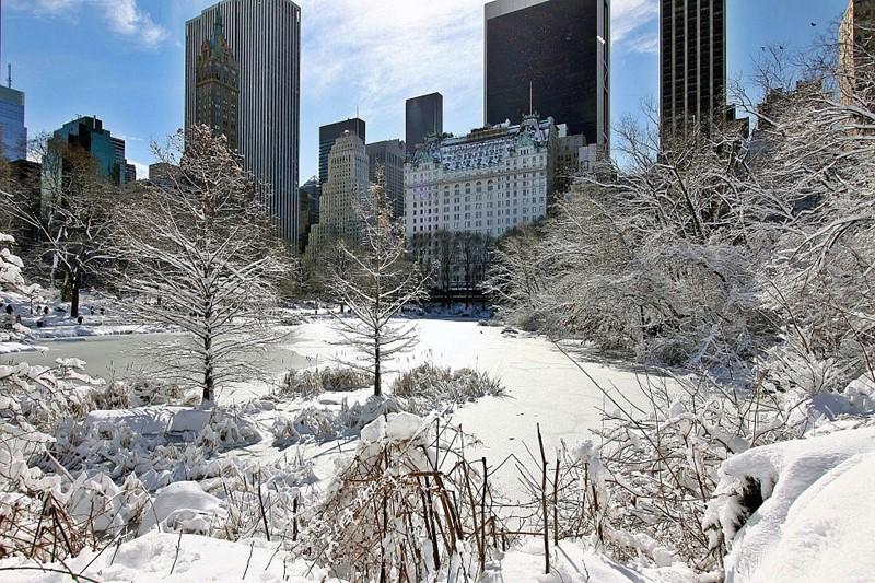 Нью-Йорк зимой снег в большом городе  (13)