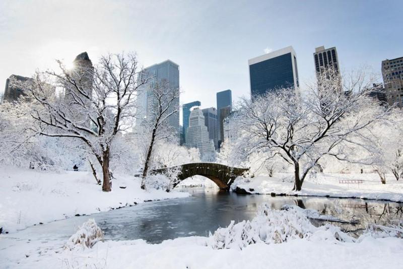 Нью-Йорк зимой снег в большом городе  (4)