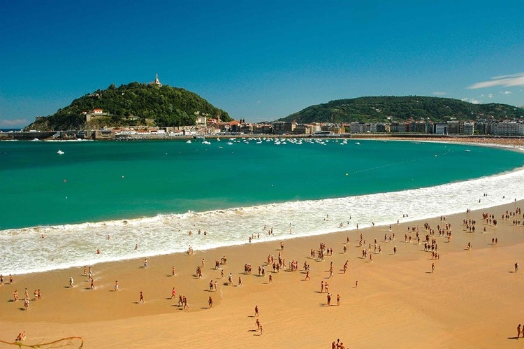 Пляж Конча, Сан-Себастьян, Испания, Атлантический океан