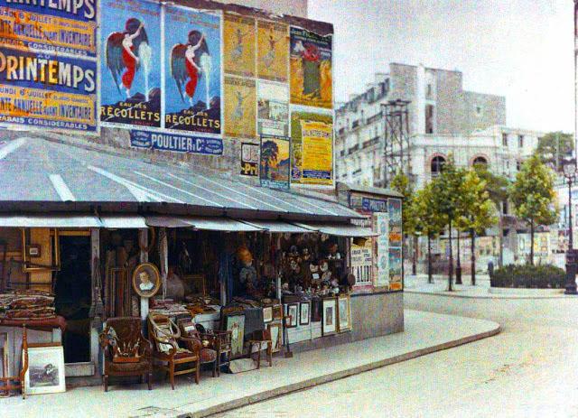 Старый Париж: редкие цветные фото - уличная торговля