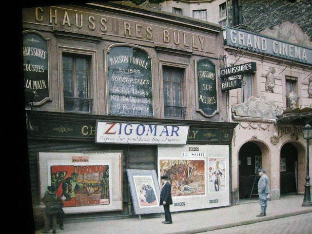 Старый Париж: редкие цветные фото - афиши кинотеатра