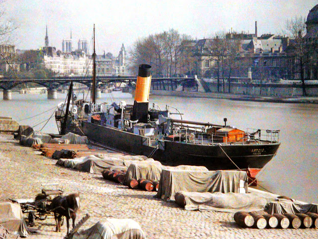 Старый Париж: редкие цветные фото - набережная Сены