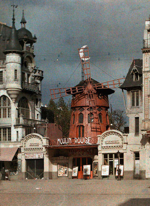 Старый Париж: редкие цветные фото - кабаре Мулен Руж