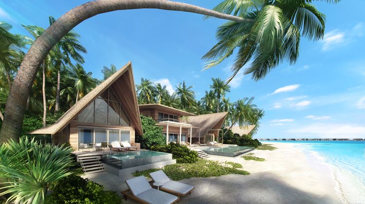 St. Regis Maldives Vommuli - виллы с пальмами на побережье