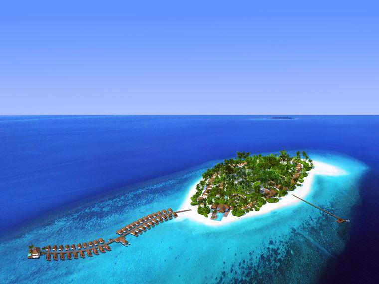 Курорт Baglioni Resort Maldives - остров вид сверху