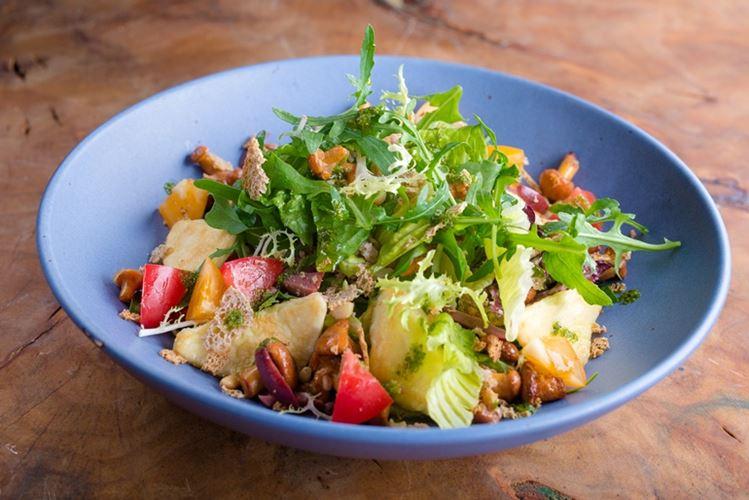 Блюда из лисичек в меню ресторана MODUS - салат с лисичками и жареным сыром сулугуни